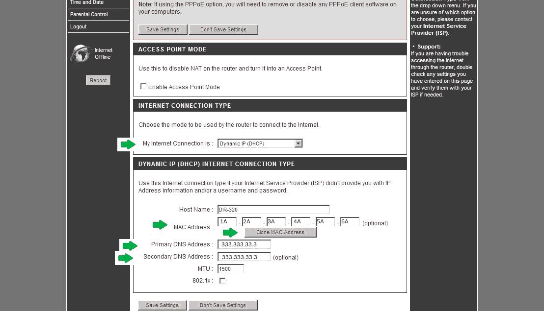 Настройка роутера dir-300 Dynamic IP